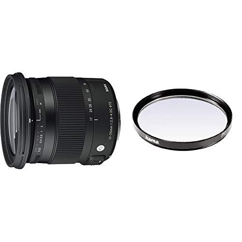 Sigma 884955Objetivo para Nikon (Distancia Focal 17-70mm, Apertura f/2.8-4, estabilizador) Color Negro + Hama 070072Filtro Ultravioleta, 72 mm, Color Neutro