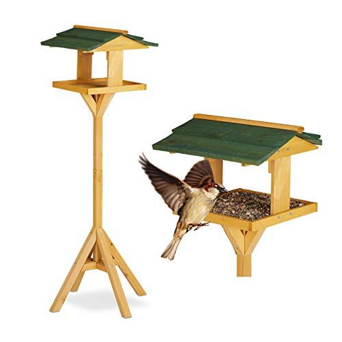 Relaxdays, Verde Casetta per Uccelli con Supporto, Autoportante, Giardino & Balcone, Mangiatoia, 117 cm, Legno Naturale Unisex Adulto, 117 x 34 x 36 cm