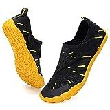 Boys & Girls Water Shoes Lightweight Comfort Sole Easy Walking Athletic Slip on Aqua 5 Toe Sock(Toddler/Little Kid/Big Kid) U220WZ1901-TG.Blk.yellow-35