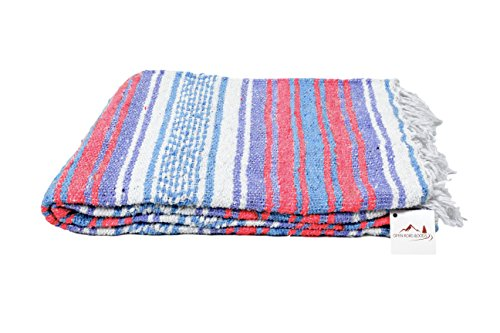Mexican Blanket Pastel - Authentic Hand Woven Falsa Blanket from Mexico - Vintage Colors. Great Mexican Yoga Blanket, Beach Blanket, Picnic Blanket, or Throw! Handmade -- White Purple Coral & Blue