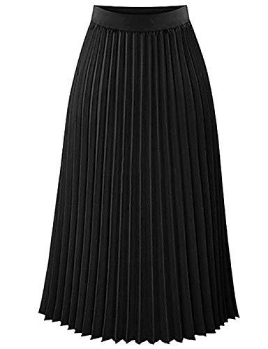 DSKILT Dames Basic A Line rok - eenkleurig geplisseerd wit zwart roos roze