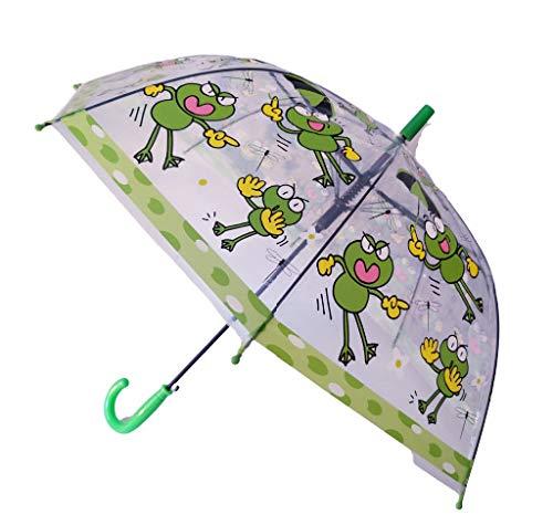 G4G Paraguas Infantil Transparente, Anti Viento, con Dibujos de Animales (Dinosaurios y Alpacas), con Medidas de 47cm. (Verde2)