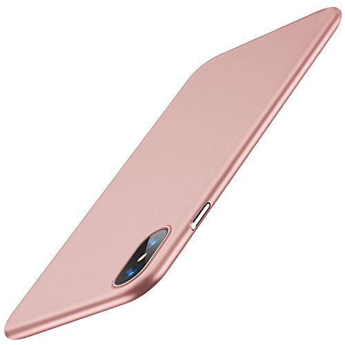 TORRAS Slim Fit Compatible for iPhone Xs Case/iPhone X Case, Hard Plastic PC Super Thin Phone Cover Case with Matte Finish Coating Grip Compatible for iPhone X/iPhone Xs 5.8 inch, Rose Gold