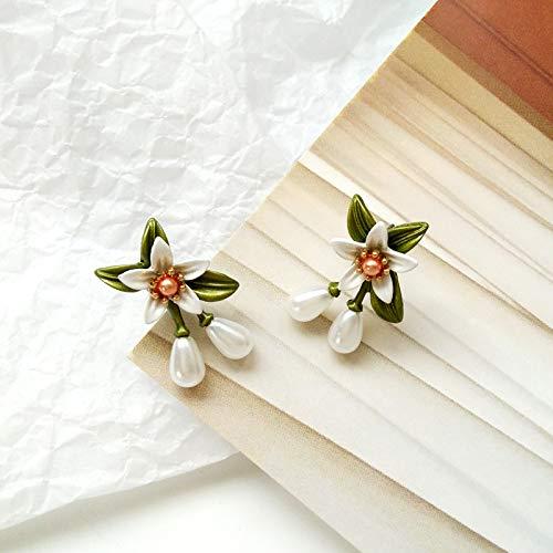 XEHL Mode Malerei Blumen Ohrstecker weibliche Temperament Lilie Ohrringe schöne Dame Ohrringe für Frauen Schmuck
