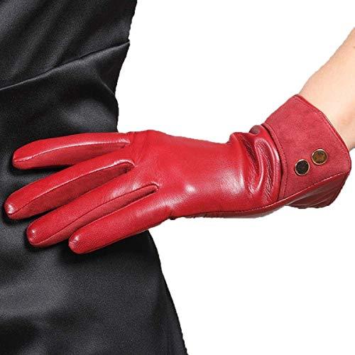 Reeseiy Guantes De Cuero Follados Para Casual Chic Mujer Moda Corta Clásico Súper Cálido 3 Colores Mitones (Color : Rot, Size : S)