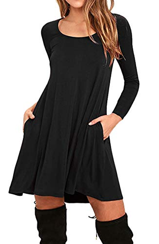 BOFETA Damen Minikleid mit Taschen Langarm Tunika Casual T-Shirt Kleid Swing Kleid Schwarz M