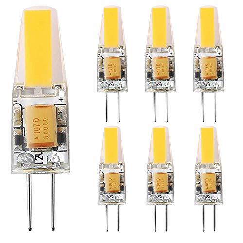 SHKUU Bombillas LED COB G4 de 6 W, Bombillas halógenas G4 de Repuesto de 30 W, Blanco cálido de 3000 K, 300 lúmenes, ángulo de Haz de 360 °, 12 V CA/CC, no Regulable, Paquete de 7