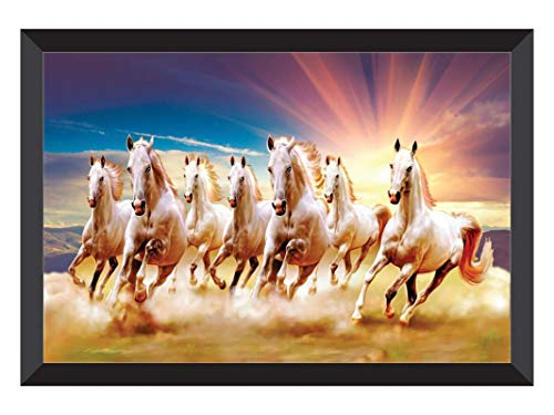 SAF 7 Horses Nature Large Framed UV Coated Digital Reprint 14 inch x 20 inch Painting () SANFH16