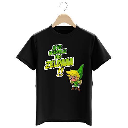 Okiwoki T-Shirt Enfant Garçon Noir Parodie Zelda - Link - Un Coup de Gueule de héros. (T-Shirt Enfant de qualité Premium de Taille 3-4 Ans - imprimé en France)