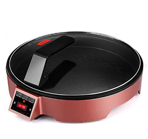 Huaishu elektrische keuken multifunctioneel voor pizza-vorm voor pannenkoeken met anti-aanbaklaag, frituurpan, 33,5 cm, rood