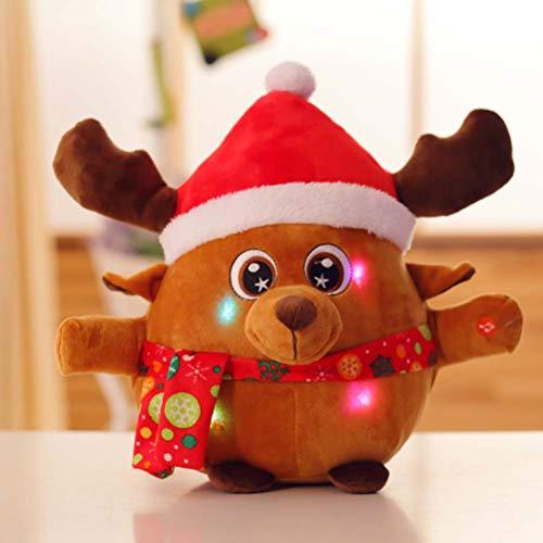 TOYANDONA Figuras de Renos Navidad Navidad Cantando Alces música y Luces de Peluche de Peluche (con botón de batería)