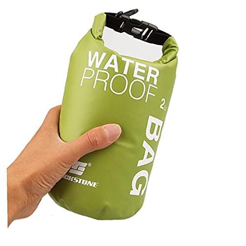 Dry Impermeable al Aire Libre Bolsas Bolsas Ligera Dry Sack 2L de Almacenamiento para Acampar Barco a la Deriva Rafting Verde