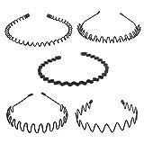 Hivexagon 5 piezas de Diadema Ondulada Flexible para Deporte Accesorios para la Cabeza (Negro) BT049