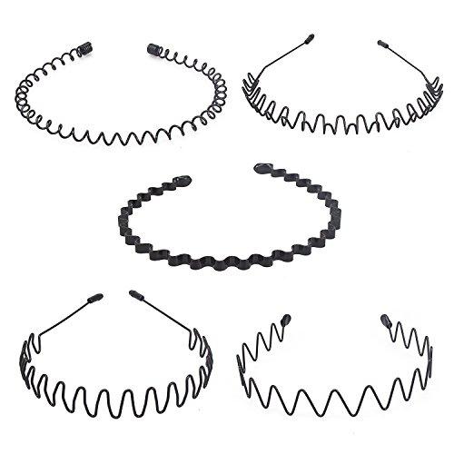 Hivexagon 5Stk Unisex Haarreifen Feder Welle Haarband für Sport Kopfschmuck Accessories(Schwarz) BT049