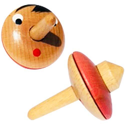 GICO Produktname Schöner Pinocchio Kreisel aus Holz - Made in Italy- 2 Stück 6465