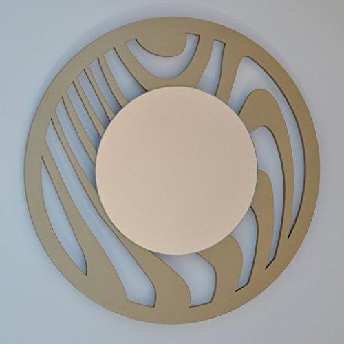 DECOHOGAR.SHOP Miroir Mural Rond - Petit zèbre - 40 x 40 cm - Laqué Blanc