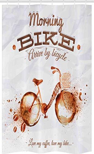 ABAKUHAUS Kaffee-Kunst Schmaler Duschvorhang, Fahrrad Liebe Leidenschaft, Badezimmer Deko Set aus Stoff mit Haken, 120 x 180 cm, Dunkelorange Schokolade