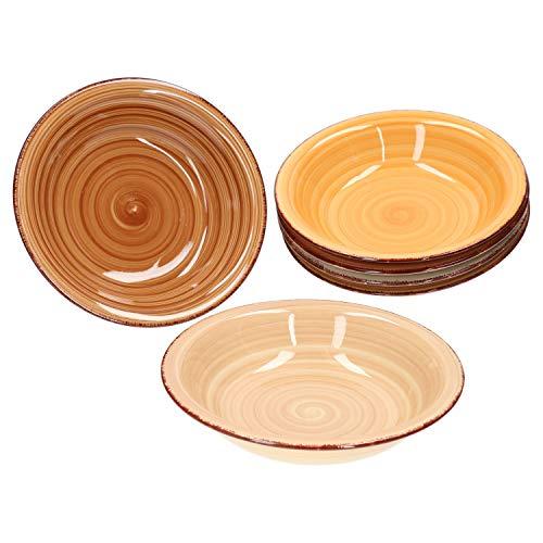 MamboCat 6tlg. Suppenteller Set Sandy für 6 Personen I Tiefe Teller 20,5 cm I edles Porzellan-Geschirr I 6 Farben