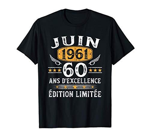 Homme 60 Ans Anniversaire Homme Millésime Fabriqué en Juin 1961 T-Shirt