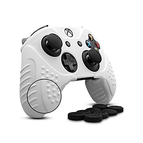 CHINFAI Xbox One S/X Controller Grip Skin Anti-Slip Silicone Protective Cover Case for Xbox 1 Controller with 4 Set Thumbstick Caps (White)