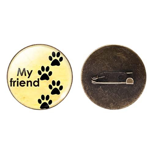 Mi amigo perro pata Broches al por mayor redondo de cristal cabujón broche Pin perro amantes joyería regalo