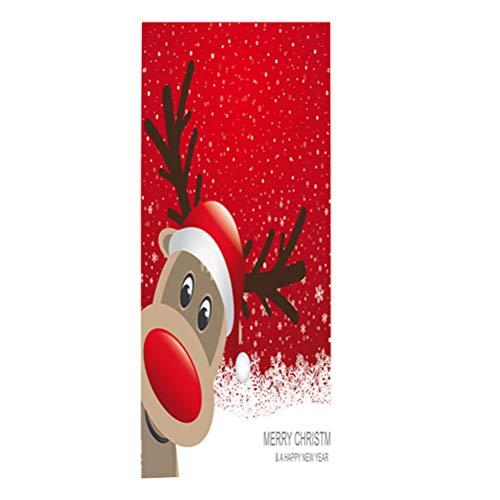 Vosarea Christmas 3D Door Stickers Self Adhesive Deer Door Wall Mural Snowflake Wallpaper Xmas Decorations