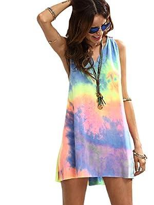 Romwe Women's Sleeveless V Neck Tie Dye Tunic Tops Casual Swing Tee Shirt Dress Multicolored L