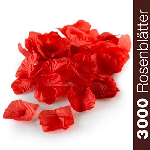 WeddingTree 3000 Pétalos de Rosa Sueltos rojo - Ideales para Bodas, día de San Valentín, cumpleaños, Fiestas y decoración romántica