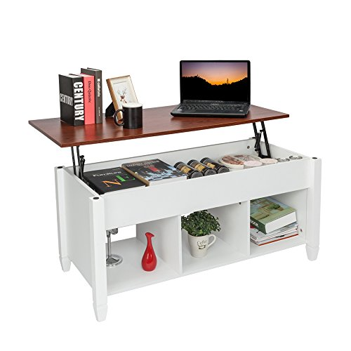 LEEKOUS Best Lift Top Coffee Table with Storage, Modern Coffee Tables for Living Room, Cocktail Table with Hidden Compartment, Thicken Wood Furniture (White)