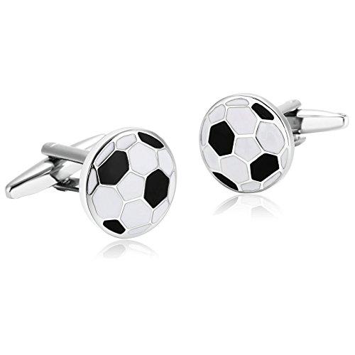 Daesar Gemelos de Acero Inoxidable Gemelos de Hombre Gemelos Camisa Gemelos Balón de Fútbol Gemelos para Hombre Gemelos Negro Blanco