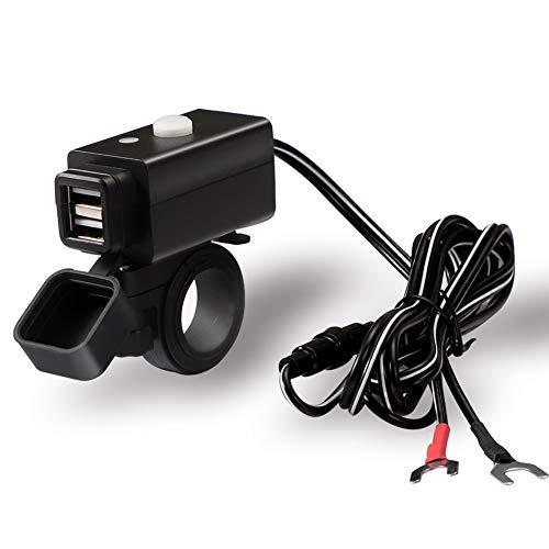 JTENG Motocicletta Impermeabile Caricabatterie USB Cellulare Caricatore 3.1A/3.1A Porte USB Doppie 12V/24V Adattatore Splitter Porta Alimentazione LED Display Tensione