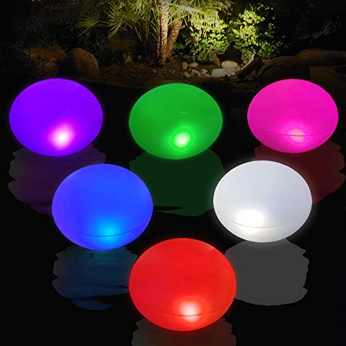 Cootway Pool Solar Lights 4PCS , 15'' UFO Inflatable Floating Waterproof Lights for Garden Lawn Pond Beach etc, Indoor&Outdoor Auto Color Changing Lights