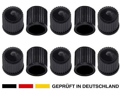 10 robuste Kunststoff Auto-Ventilkappen in Schwarz für Autoventil AV Schrader-Ventil KFZ, Auto, PKW, Mofa, Motorrad, Roller, LKW, Schubkarren, Fahrrad & Rad Reifen-Ventile Ersatz-Kappen Deckel