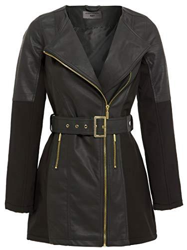 SS7 - Cappotto da motociclista da donna, in ecopelle, colore: nero, taglie dalla 48 alla 46 Nero 40