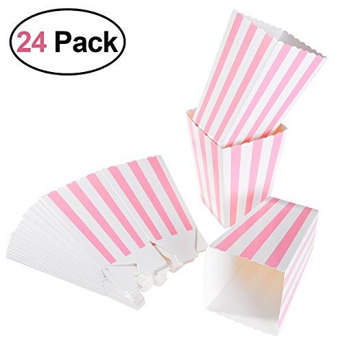 YeahiBaby Caja de palomitas de maíz 24 piezas Bolsas de caramelo de cartón de color rosa Bolsas de papas fritas, Cumpleaños Baby Shower Favores de fiesta