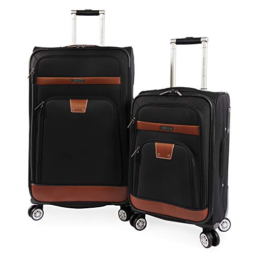 Perry Ellis 2 Piece Premise Spinner Luggage Set, Black, One Size