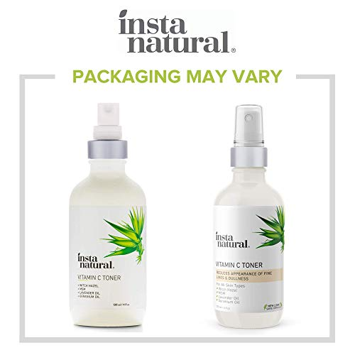 InstaNatural Vitamin C Facial Toner - Anti Aging Face Spray with Witch Hazel - Pore Minimizer & Calming Skin Treatment for Sensitive, Dry & Combination Types - Prep for Serums & Moisturizers - 4 oz
