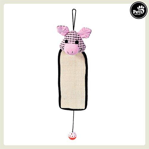 Pets&Partner® Katzen Kratzteppich aus Sisal, platzsparende alternative zu Kratzbaum und Kratzbrett, mit Rassel Spielzeug