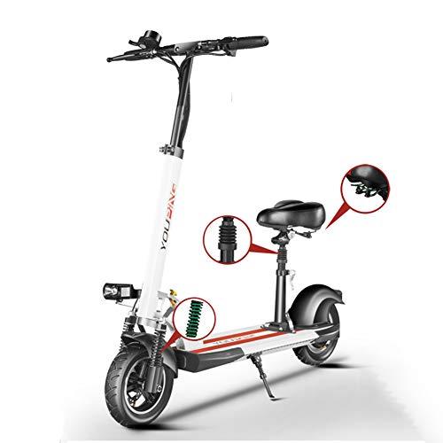 WM Scooter Elettrico per Adulti 500w Motorino Pieghevole in Alluminio per Scooter con Batteria Da 48 V Durata Della Batteria Super Lunga 20-100 Km,Blanco