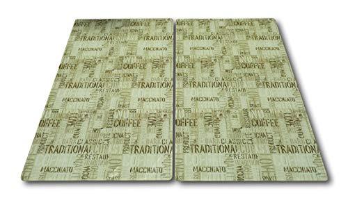 Best-Accessoires4All 2X Vetro herdabdeckplatte herdabdeckung Tagliere Piastra Vetroceramica Design caffè.
