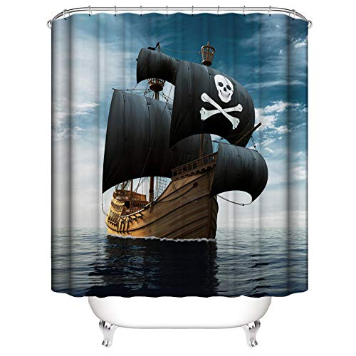Duschvorhang Anti-Schimmel Wasserdicht Polyestergewebe Antibakteriell Vorhang für Dusche und Badewanne, 3D Piratenschiff Muster,mit 12 Haken, Duschvorhang Waschbar 180x200 cm