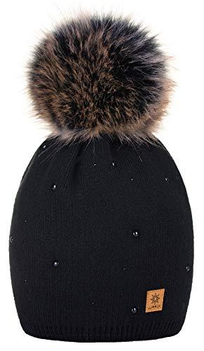 4sold Winter Autunno Inverno Cappello Cristallo più Grande Pelliccia Pom Pom Invernale di Lana Berretto delle Signore delle Donne Beanie Hat Pera Sci Snowboard di Moda (Black)