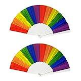 Healifty 2Pcs Arcobaleno Gay Fan Pride LGBT Ventaglio Pieghevole Fan Portatili per Eventi Cruise Club Festival di Musica Rave Parade Circuit Party Festa di Compleanno 23Cm