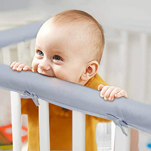 JHION 3-Piece Baby Crib Rail Cover Protector Set from Chewing for Standard Cribs,100% Silky Soft Microfiber Polyester, Fits Side and Front Rails Grey