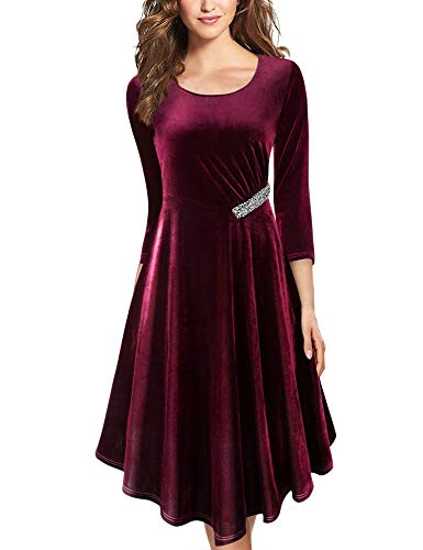 Lotusmile Elegant Dresses for Women Evening, 3/4 Sleeve Female Dresses for Party Wedding Crewneck Form Fitted Business Casual Wear Office Work Professional Dress Flare Asymmetrical Dresses Wine,M