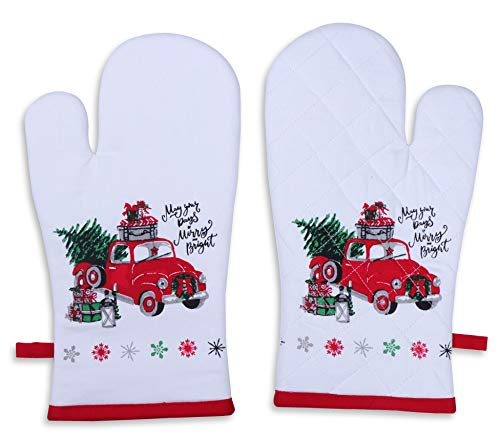 Oven Mitts, Unique Merry Christmas Design, Oven Mitts Heat Resistant, Made of 100% Cotton, Eco-Friendly & Safe, Set of 2, size 7 x 13 Inches, Machine Washable, Kitchen Oven Mitts By Amour Infini