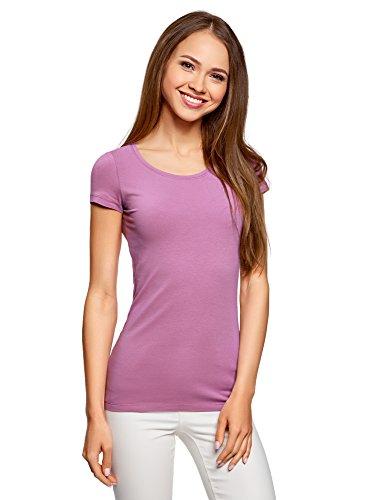 oodji Ultra Donna T-Shirt Slim Fit (Pacco da 2), Viola, IT 42 / EU 38 / S