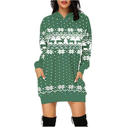 Xmiral Hoodie Kleid für Damen Weihnachten Gedruckte Langpullover Langarm Winterpullover mit Taschen(g-Grün,3XL)