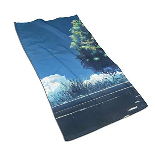 N/A - Juego de toallas de baño de algodón egipcio con impresión de acuarela, ultra absorbente, para viajes, deportes, bicicleta, nubes, hierba Hatsuame Original Scenic, 69,8 x 39,9 cm