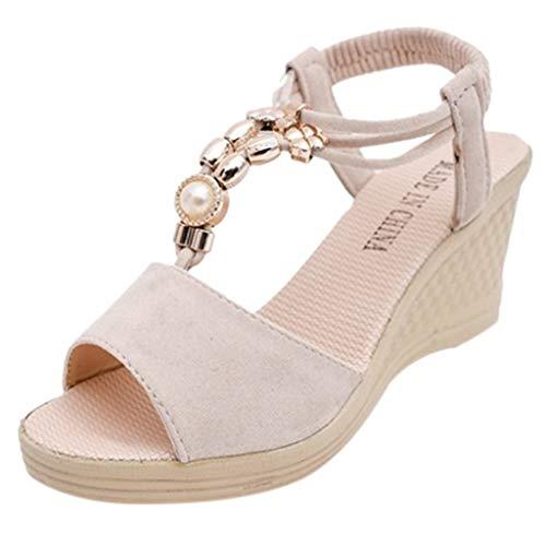 Sandales Compensées Femme,Honestyi Chaussures Couleur Unie Escarpins Bouche de Poisson Sandales Perlage Chaussures Rome Chic Tongs Vacances Casual Shoes